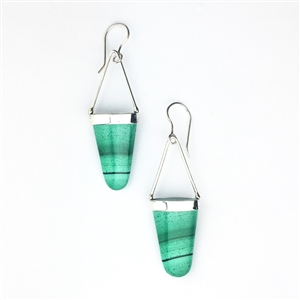 Long sterling silver drop earrings in malachite