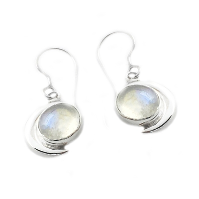Moon Earrings in Rainbow Moonstone + More Colors