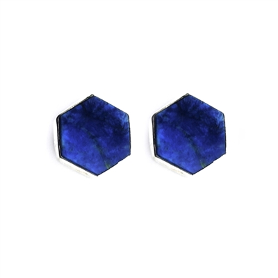 Sterling silver hexagon Lapis Stud Earrings