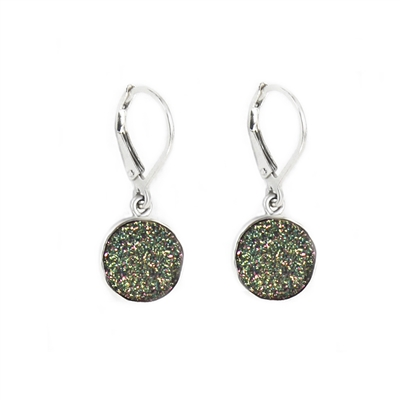 Rainbow Drusy Leverback Earrings