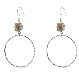 Hammered Hoop with Faceted Stone Earrings + MORE COLORS