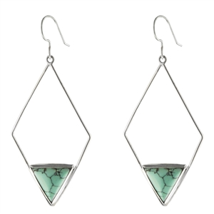 Turquoise sterling silver long triangle earrings