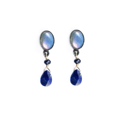 Blue lapis lazuli and opal sterling silver stud earrings.