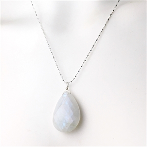 Faceted moonstone teardrop necklace on a sparkling sterling silver chain
