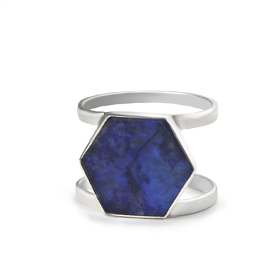 Lapis Geometric Ring