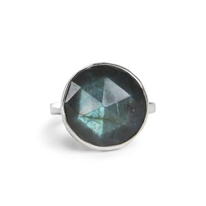 Faceted Bubble Ring in Labradorite
