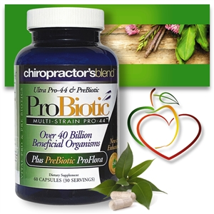 <strong>New & Enhanced!!<br>Ultra Pro-44 Multi-Strain ProBiotic</strong><br><i>Now with Over 40 Billion Beneficial Organisms<br>Plus <strong>Vital PREBIOTIC ProFlora!</i></strong>