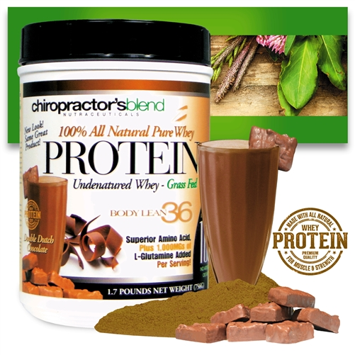 <strong>Pure Whey Protein Body Lean 36!</strong><br><i> Double Dutch Chocolate flavor!</i>
