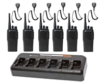 CP200d Complete Package - 6 Radios, 6 Speaker Mics, & 6-Bank Charger