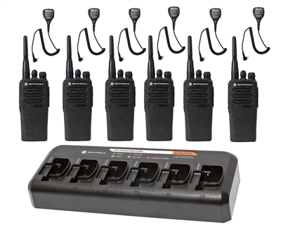 CP200d UHF Digital Combo Pack - 6 Radios, 6 Speaker Mics, & 6-Bank Charger