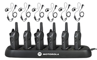 Motorola DLR1020 6 Pack Two Way Radio Bundle with Accessories