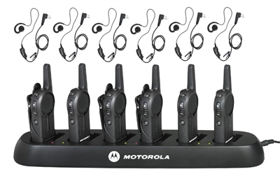 Motorola DLR1020 Complete Package - 6 Radios, 6 Earpieces, 6-Bank Charger