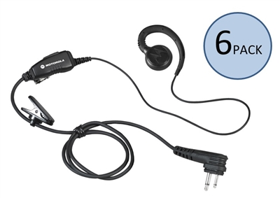 6 Pack of Motorola HKLN4604 Swivel Earpiece with PTT