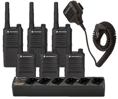 Motorola RMM2050 6 Pack with Speaker Mics and Bank Charger