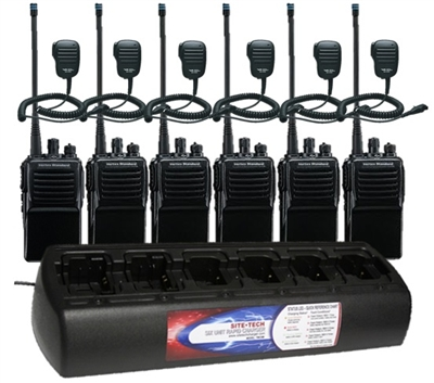 Vertex Standard VX-351-AG7B-5 UNI 6 Pack with MH-450S Speaker Mics and TWC6ML-UNI Bank Charger