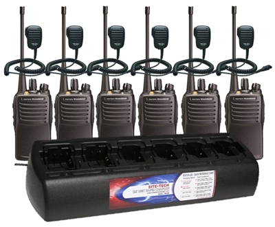 VX-451-G7-High UNI 6 Pack with MH-450S Speaker Mics and TWC6ML-UNI 6-Bank Charger