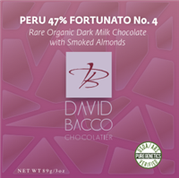 47% PERU - FORTUNATO NO 4 - DARK MILK CHOCOLATE with SMOKED ALMONDS
