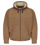 Bulwark - Flame-Resistant Brown Duck Hooded Jacket w/ Lanyard Access. JLH4