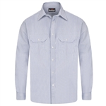 Bulwark - Flame-Resistant Button-Front Striped Uniform Shirt. SEU2