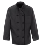 Red Kap - Ten-Button Black Chef Coat. 0427BK