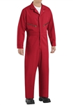 Red Kap - Men's Zip-Front Red Cotton Coverall. CC18RD