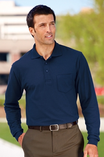 43c002c34 Port Authority - Long Sleeve Silk Touch Polo with Pocket. K500LSP Larger  Photo Email A Friend