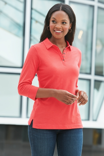 Port Authority - Ladies 3/4-Sleeve Meridian Cotton Blend Polo. L578