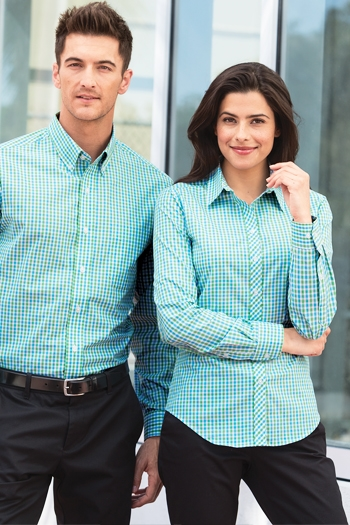 a15b19bd Port Authority - Ladies Long Sleeve Gingham Easy Care Shirt. L654 Larger  Photo Email A Friend