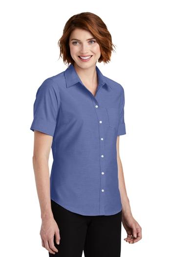 "e7414cbe528a49 Port Authority - Ladies Short Sleeve SuperProâ""¢ Oxford Shirt. L659"