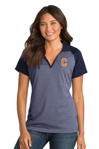 Sport-Tek® - Ladies PosiCharge® RacerMesh® Raglan Heather Block Polo. LST641