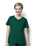WonderWink - WonderWORK Women's Short-Sleeve Snap Front Scrub Top. 200