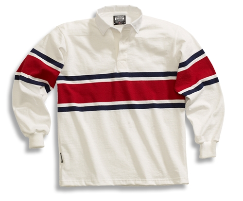 Barbarian Casual White / Navy / Dk Red Acadia Stripe
