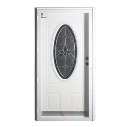 Elixir Series 9000 Vinyl Steel Combo Door -3/4 Oval Light