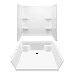 54 x 42 Mobile Home shower With 3 Piece Fiberglass Surround