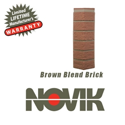 Novik Hand-Laid Brown Blend Brick Pattern Corner