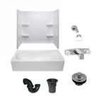 54 x 27 Mobile Home bathtub With 3 Piece Fiberglass Surround