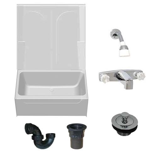 54 X 27 Mobile Home Bathtub With 2 Piece Fiberglass Surround