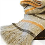 Wool Throw Blanket, Soft and Fluffy New Carnival Striped Throws, All Natural with No Synthetics