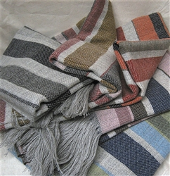 Merino Wool Blend Middle East 5 Color Stripe Throw Blanket, All Natural with No Synthetics