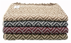 100% Baby Alpaca Geometric Maze Throw Blanket