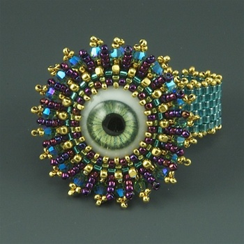 """Doll's Eye Ring"" Kit, green eye"