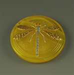 Glass Dragonfly Cabochon, yellow opaline handpainted, 27mm