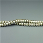 "3x5mm button sage green fresh water pearls, one 16"" strand"