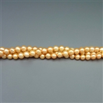 "3.5-4mm round peach fresh water pearls, one 16"" strand"