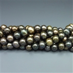 "7-8mm round dark olive green fresh water pearls, one 16"" strand"