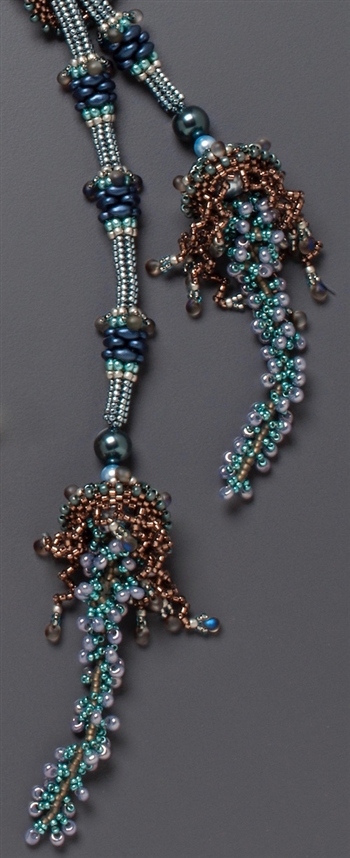 Jellyfish Lariat Necklace Kit, blue, grey & brown