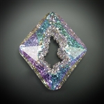 36mm Swarovski crystal geode pendant, light vitrail