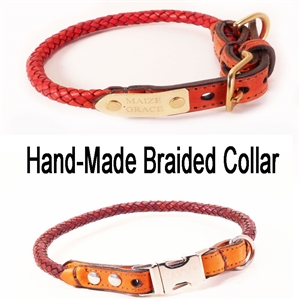 Custom Braided Leather Dog Collar