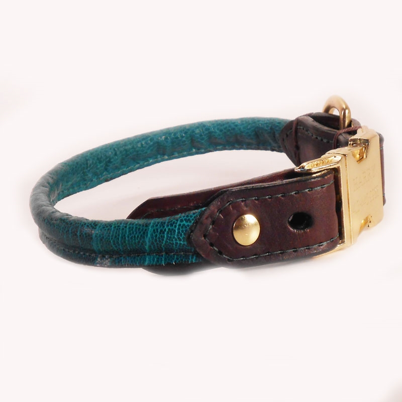 Rolled Dog Collar L Hand Made Luxury Rolled Leather Collars