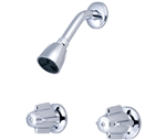 Central Brass 80926 8 inch Center Two Handle Shower Only Faucet with Ceramic Cartridges, Canopy Handles and Showerhead - Polished Chrome Finish